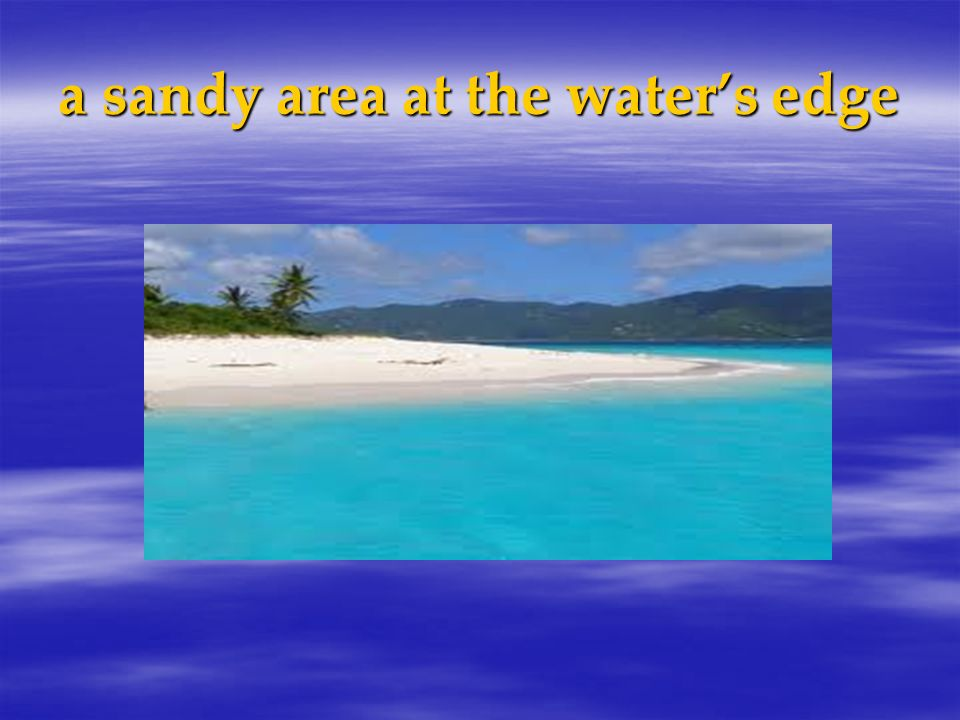 a sandy area at the water's edge