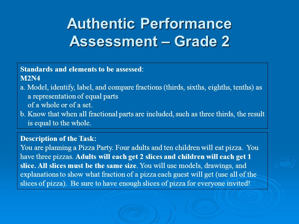 Authentic Performance Assessment – Grade 2