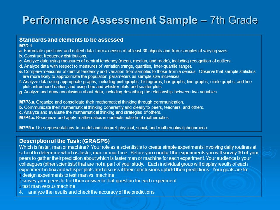 Performance Assessment Sample – 7th Grade