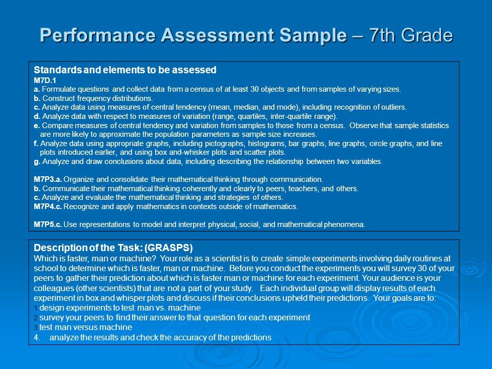 Performance Assessment Sample – 7th Grade