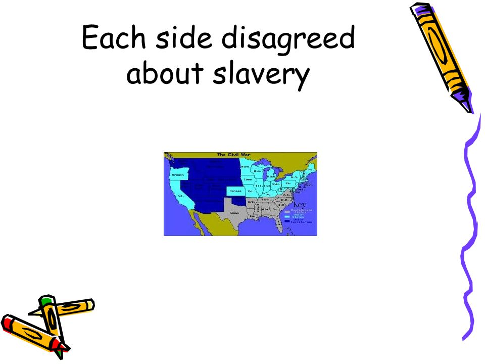 Each side disagreed about slavery