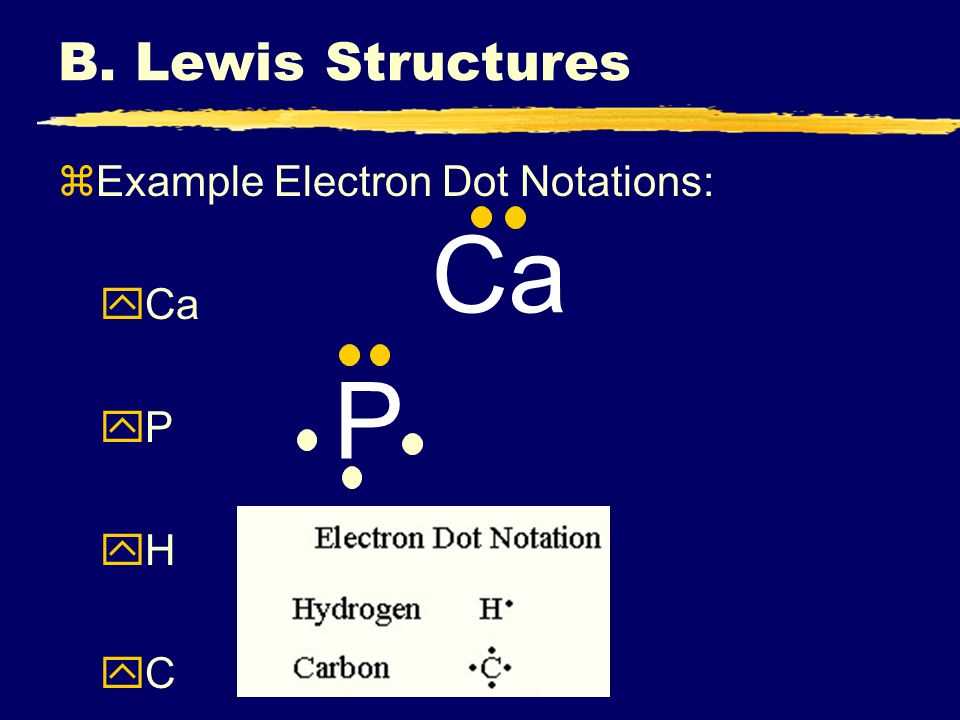 B. Lewis Structures Example Electron Dot Notations: Ca P H C Ca P
