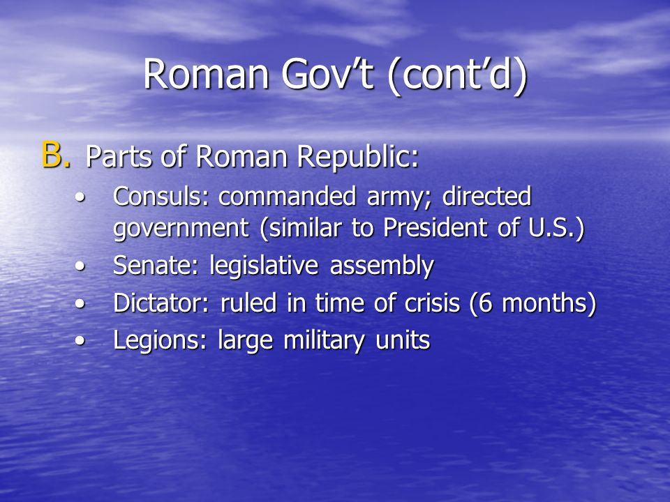 Roman Gov't (cont'd) Parts of Roman Republic: