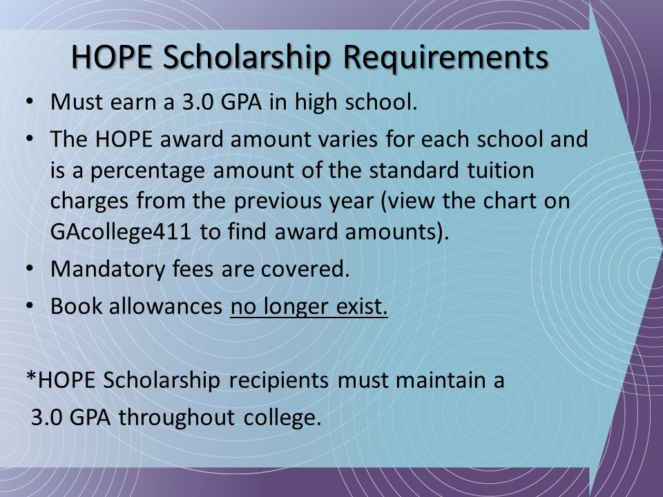 HOPE Scholarship Requirements