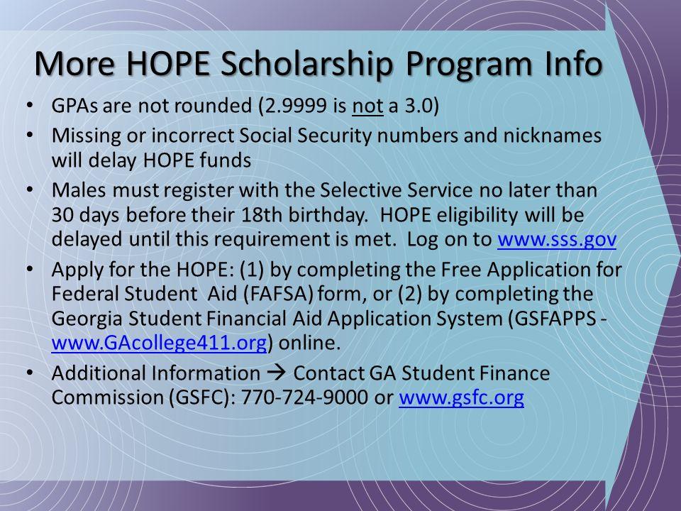 More HOPE Scholarship Program Info