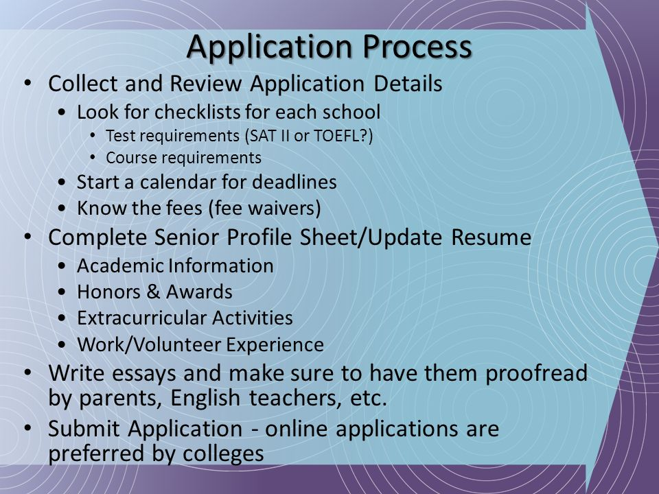 Application Process Collect and Review Application Details