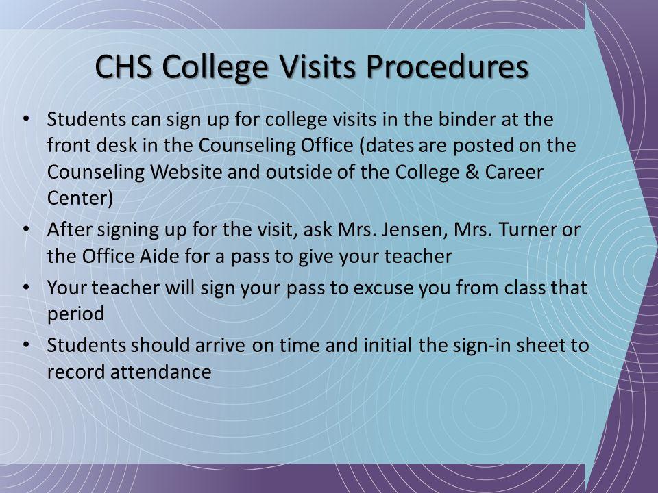 CHS College Visits Procedures