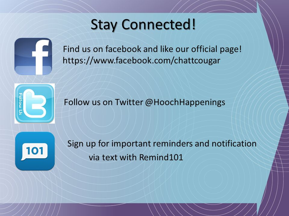 Stay Connected! Find us on facebook and like our official page! https://www.facebook.com/chattcougar.