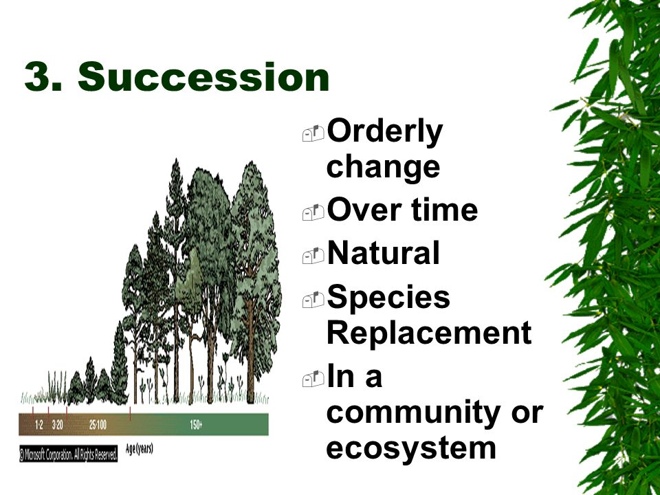 3. Succession Orderly change Over time Natural Species Replacement