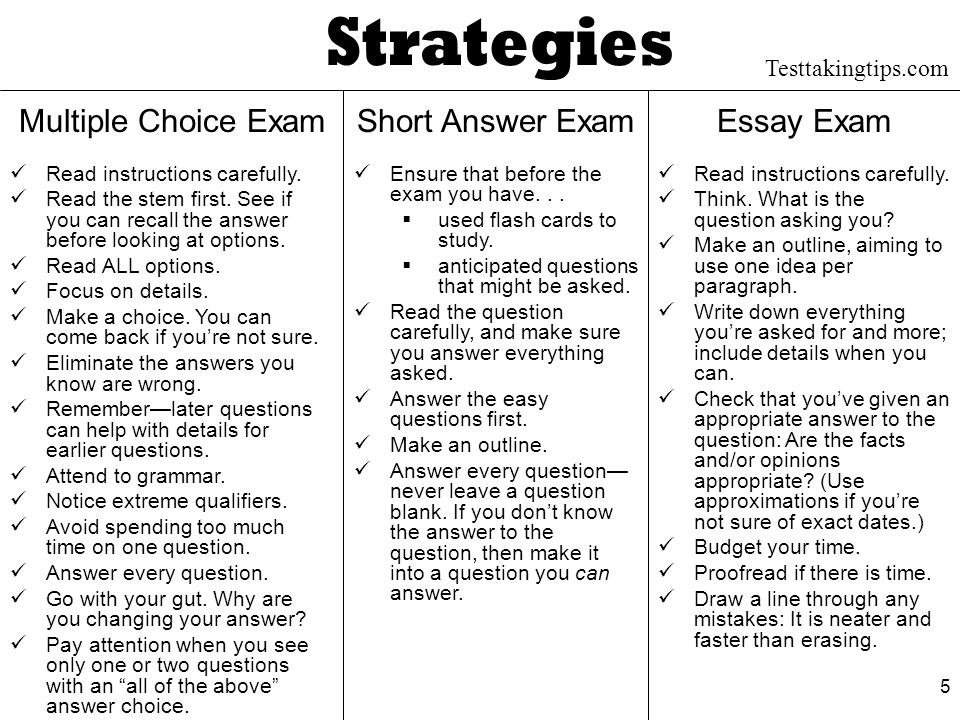 essay tests strategies Use good strategies for answering multiple choice and other objective questions look for the when answering essay questions.