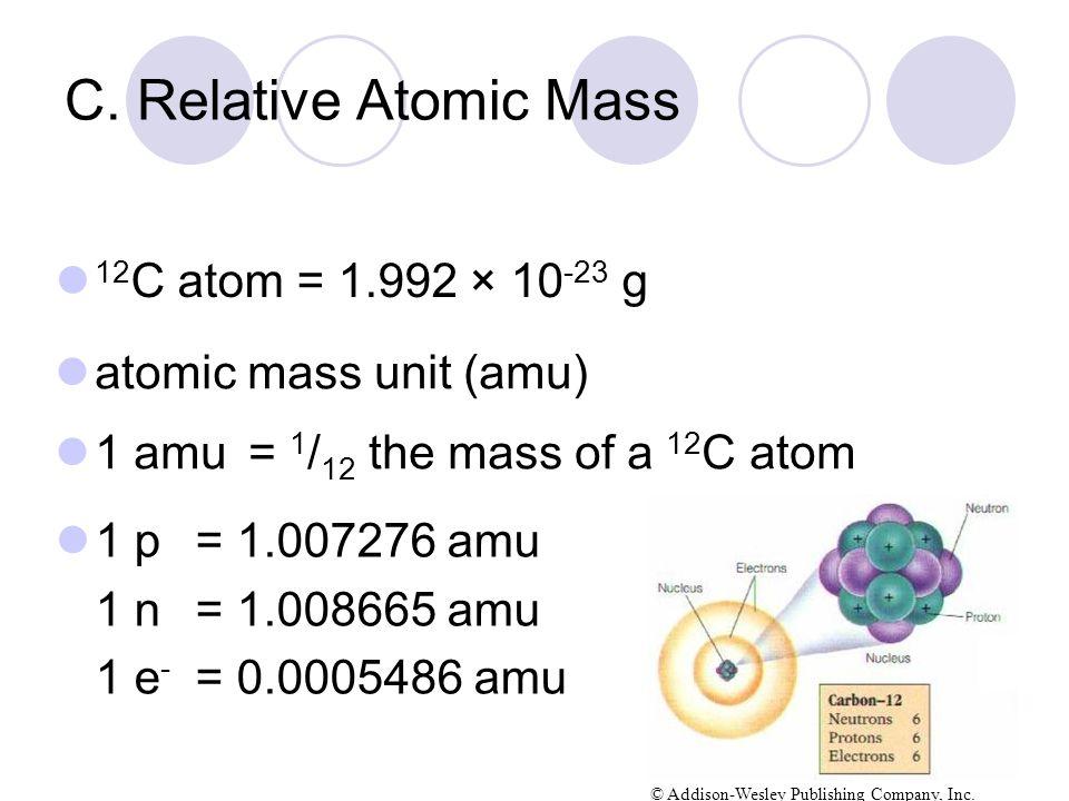 C. Relative Atomic Mass 12C atom = 1.992 × 10-23 g