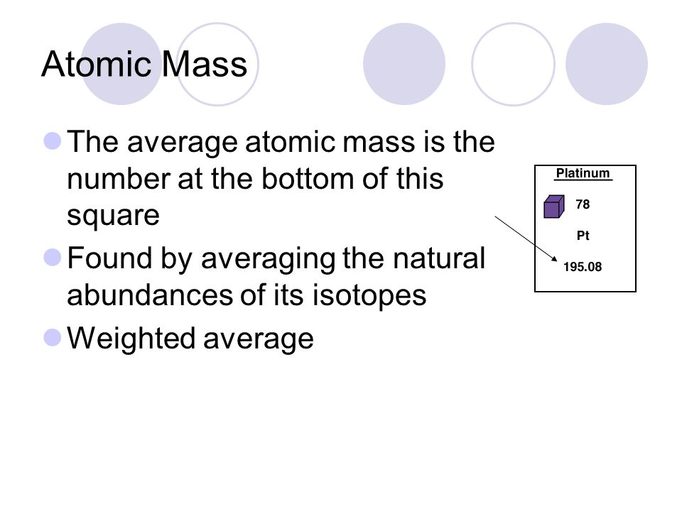 Atomic Mass The average atomic mass is the number at the bottom of this square. Found by averaging the natural abundances of its isotopes.