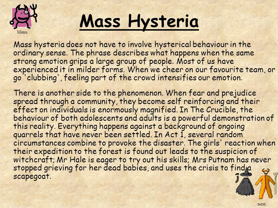 Mass Hysteria Menu.