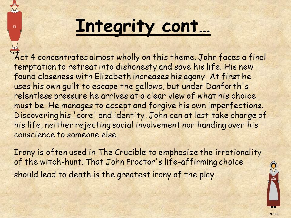 Integrity cont… back.