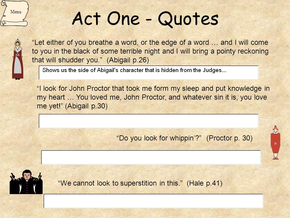 Act One - Quotes Menu.