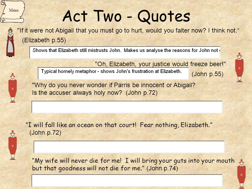 Act Two - Quotes (Elizabeth p.55) (John p.55)