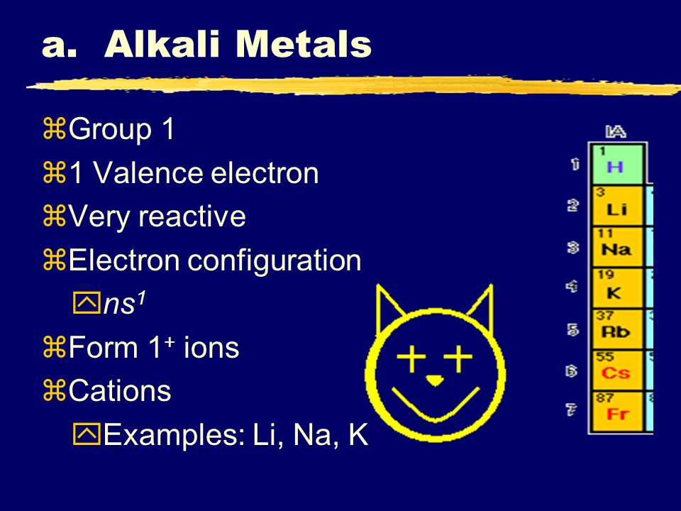a. Alkali Metals Group 1 1 Valence electron Very reactive