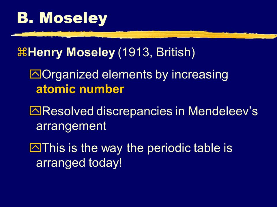 B. Moseley Henry Moseley (1913, British)