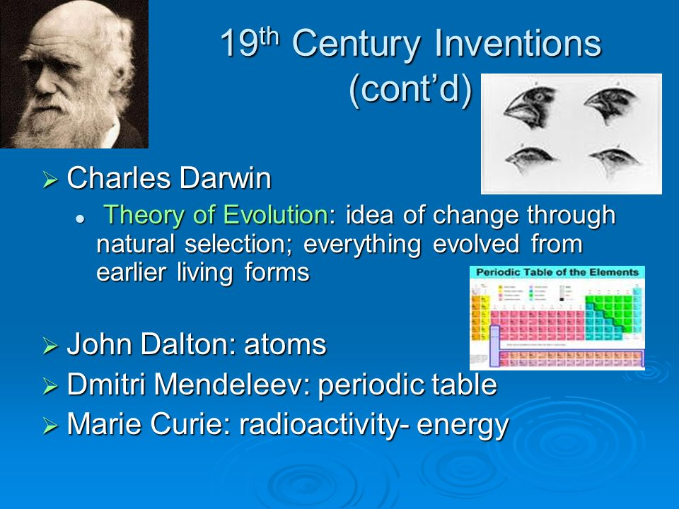 19th Century Inventions (cont'd)