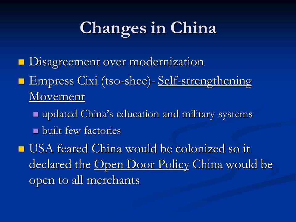 Changes in China Disagreement over modernization