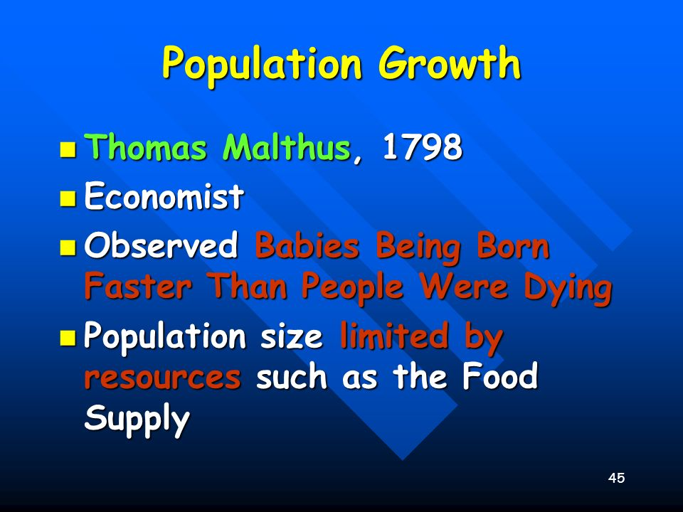 Population Growth Thomas Malthus, 1798 Economist