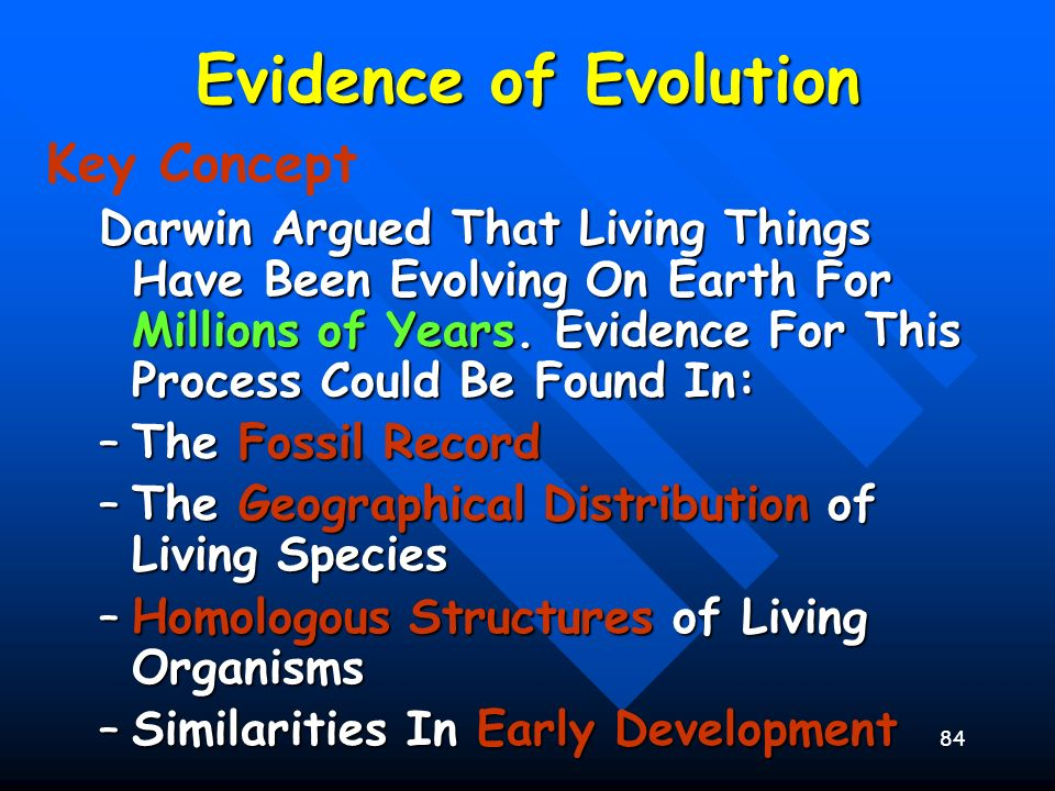 Evidence of Evolution Key Concept