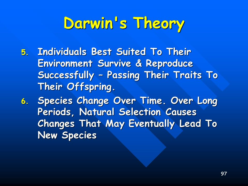 Darwin s Theory Individuals Best Suited To Their Environment Survive & Reproduce Successfully – Passing Their Traits To Their Offspring.