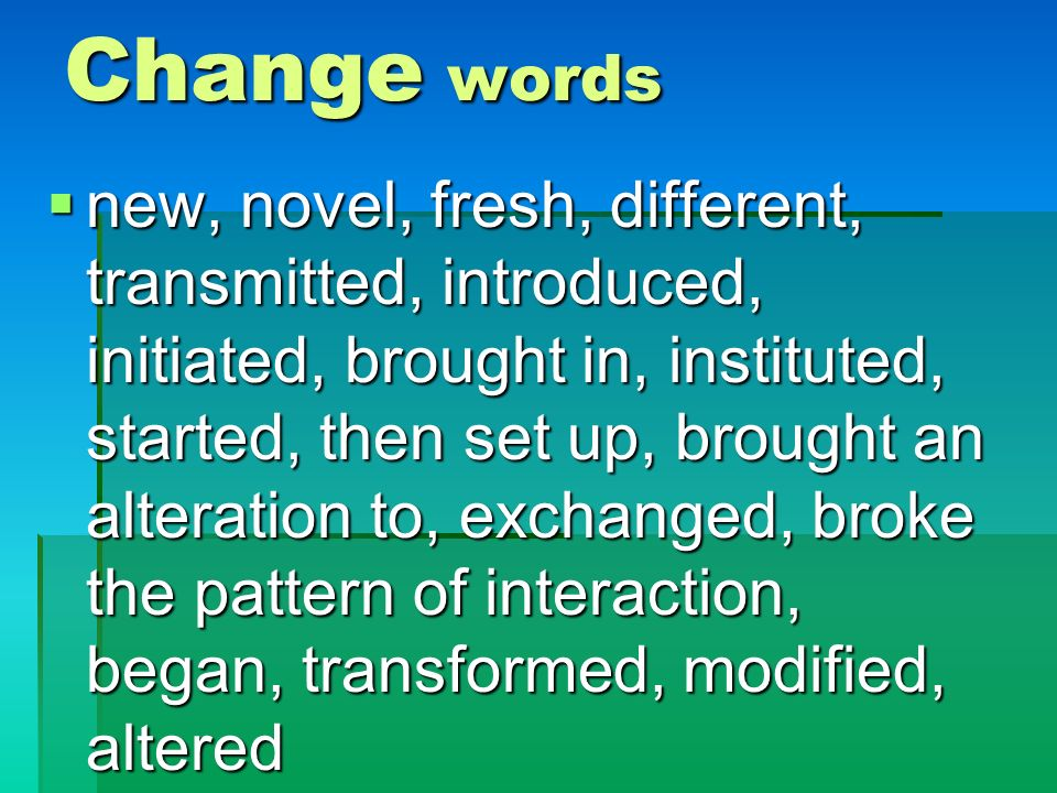 Change words