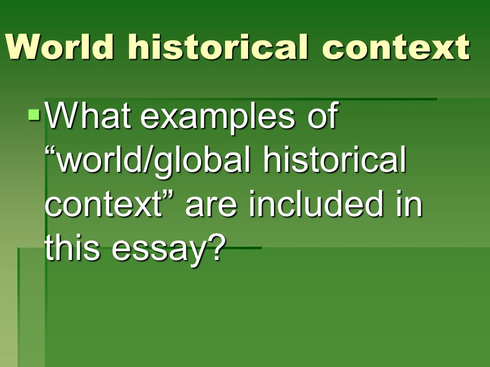 World historical context