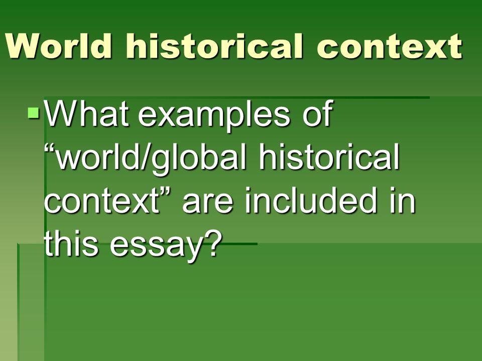 World historical context