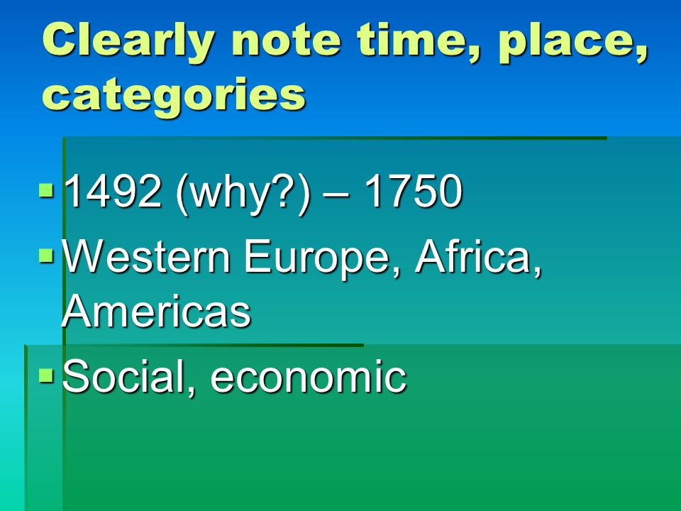 Clearly note time, place, categories