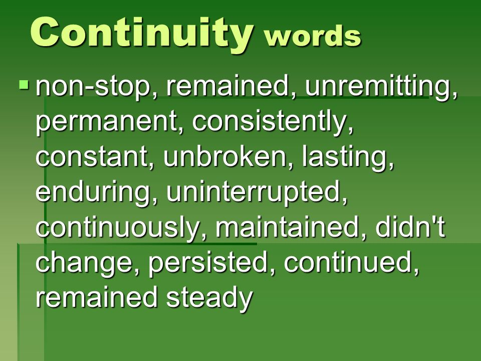 Continuity words