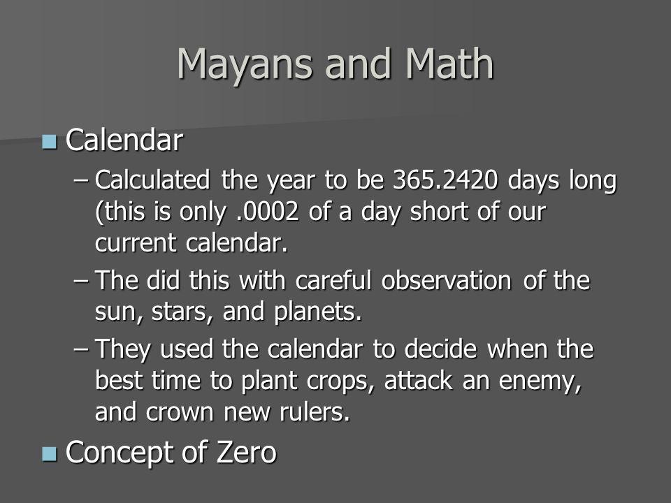 Mayans and Math Calendar Concept of Zero