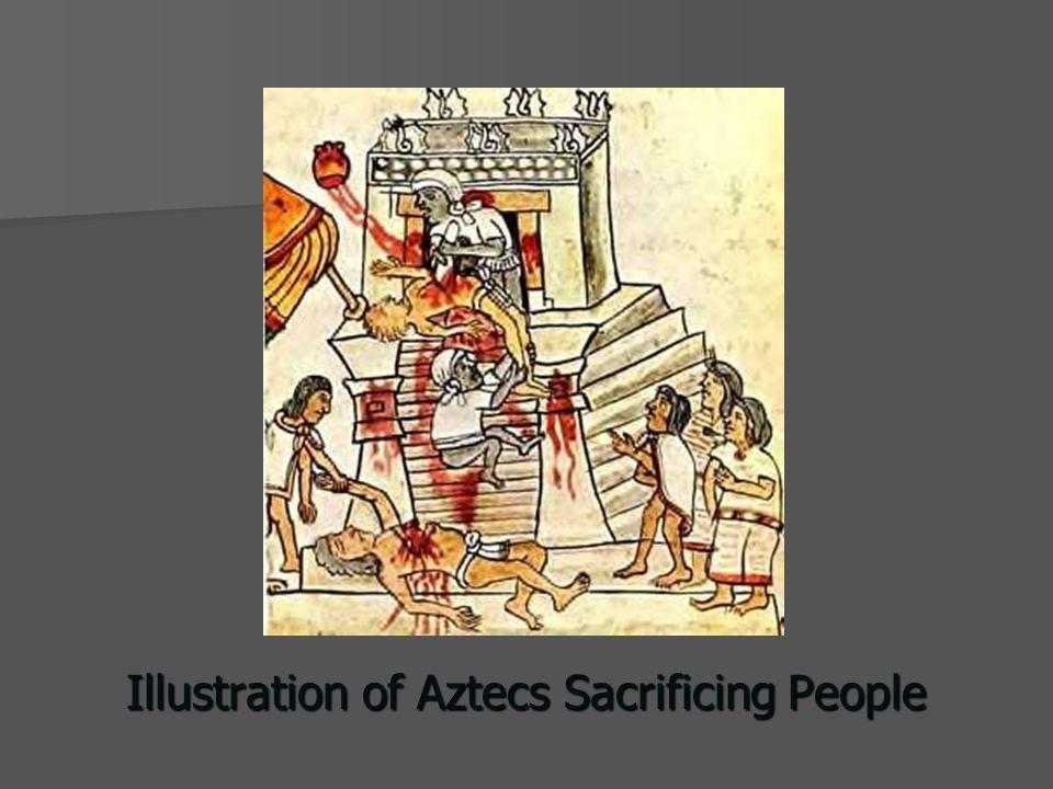 Illustration of Aztecs Sacrificing People