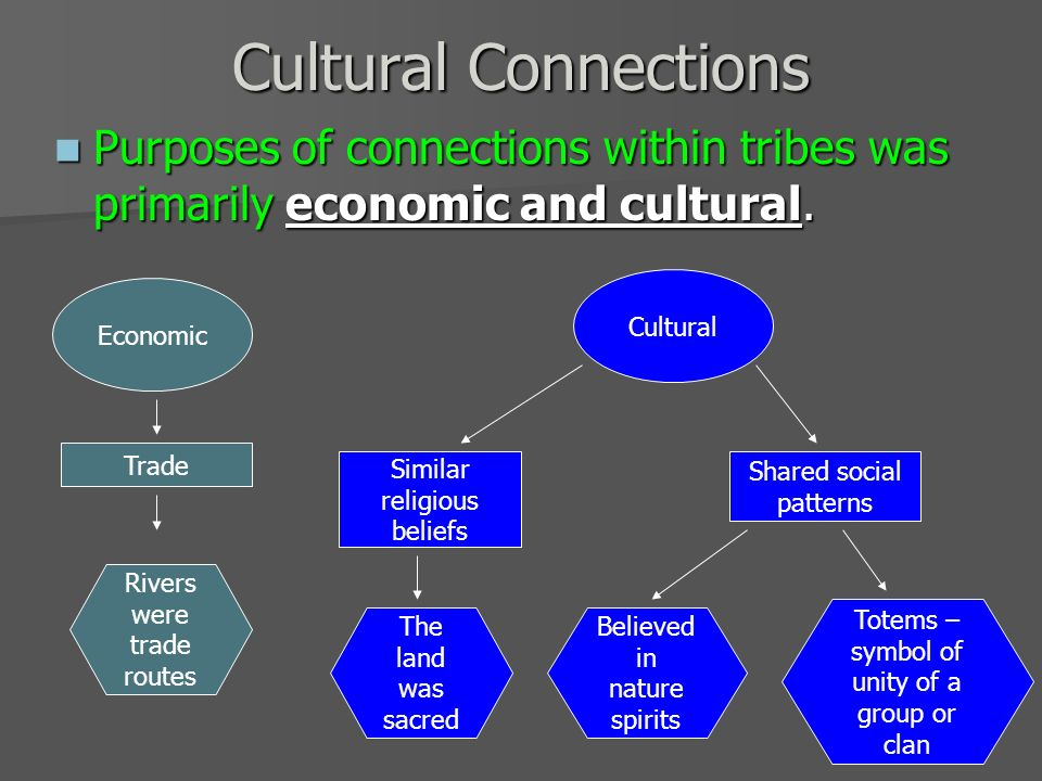 Cultural Connections Purposes of connections within tribes was primarily economic and cultural. Cultural.
