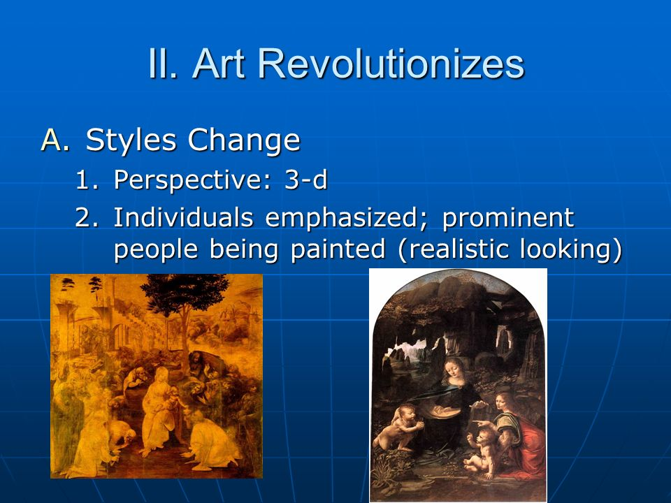 II. Art Revolutionizes Styles Change Perspective: 3-d