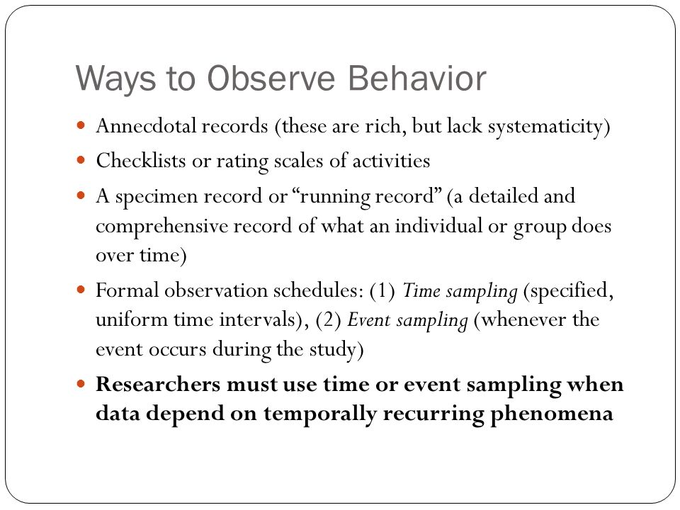 child event sample observation What is event sampling observation a: for example, a researcher might make a note of every time a child cries when doing an event sampling observation.