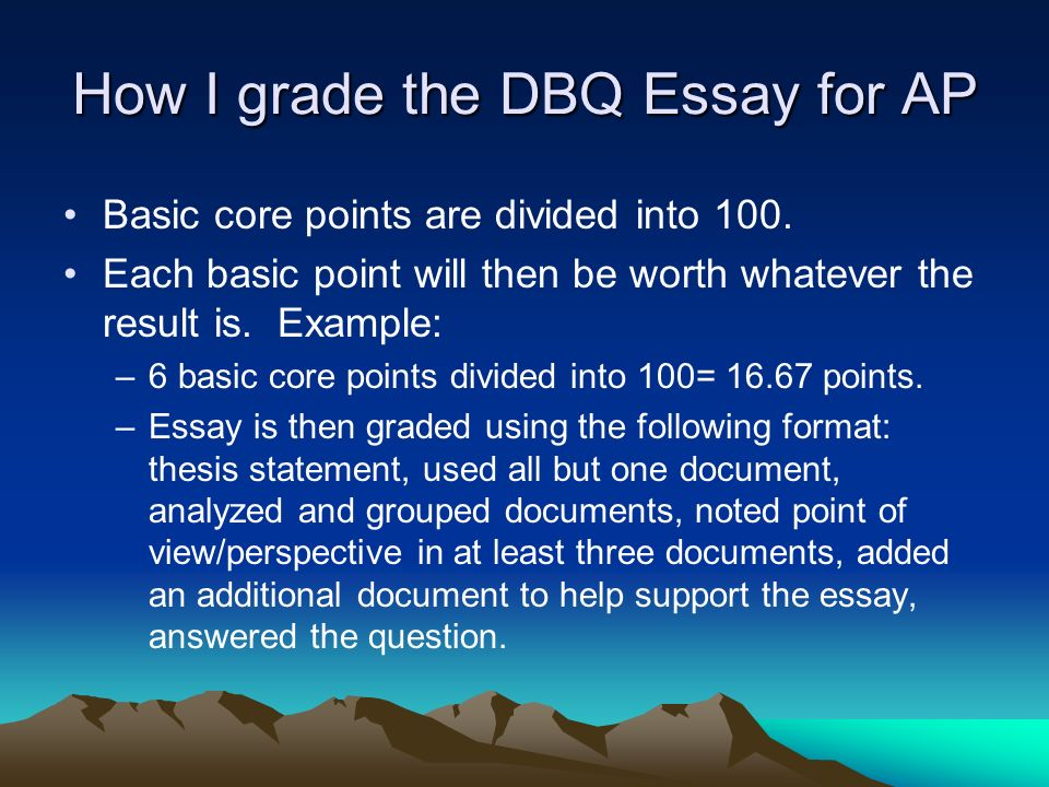 parts of a dbq essay Apush dbq rubric name: _____ essay topic: _____ 0 points 1point 2 points 3 points thesis (0-1 pts) thesis does not address all parts of the question thesis simply.