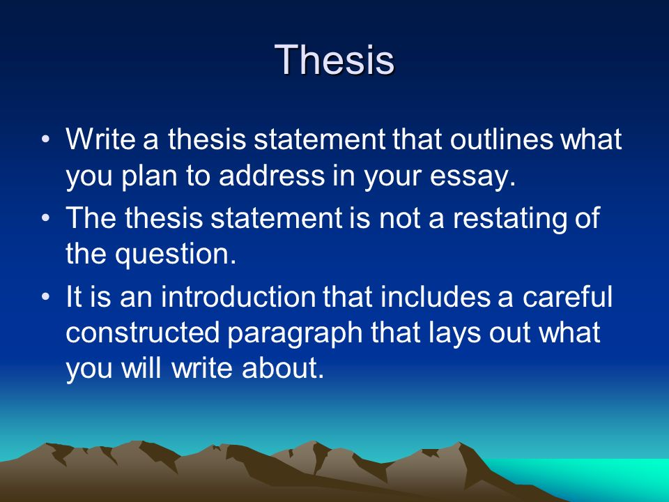Good thesis statement outlines