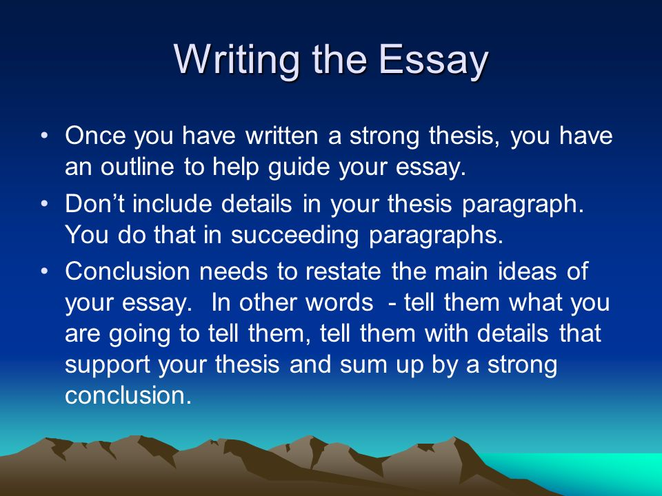 how do you write a thesis statement in an essay Clrc writing center writing your thesis statement re-read the assignment and make notes on it as you would a course text: underline the verbs (eg, define, review, summarize) to determine what the assignment is asking you to do.