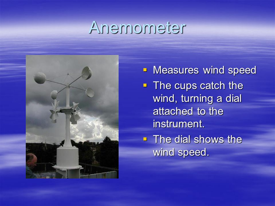 Anemometer Measures wind speed