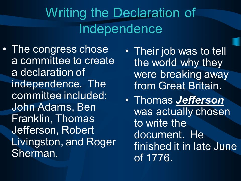 Declarationnnnn of independence finished