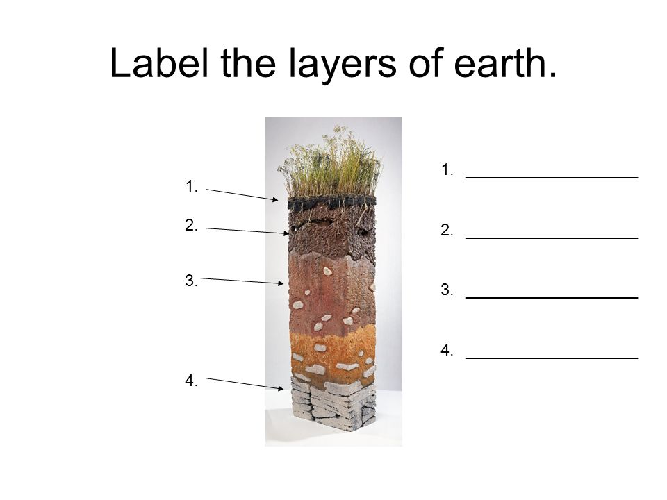 Label the layers of earth.