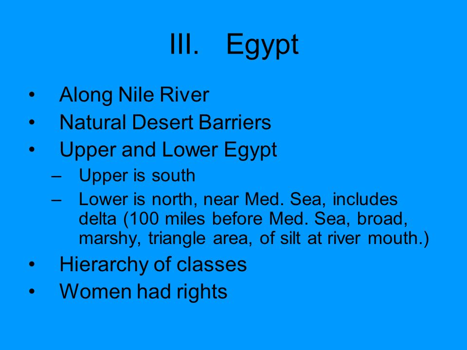 Egypt Along Nile River Natural Desert Barriers Upper and Lower Egypt