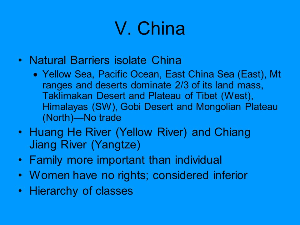 V. China Natural Barriers isolate China