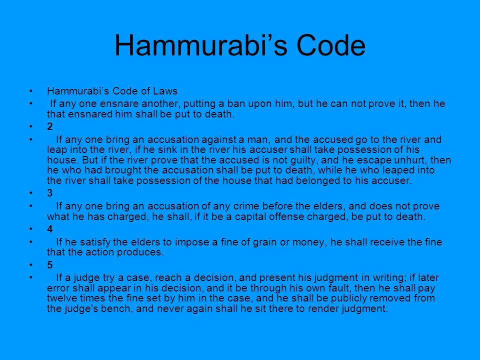 Hammurabi's Code Hammurabi's Code of Laws
