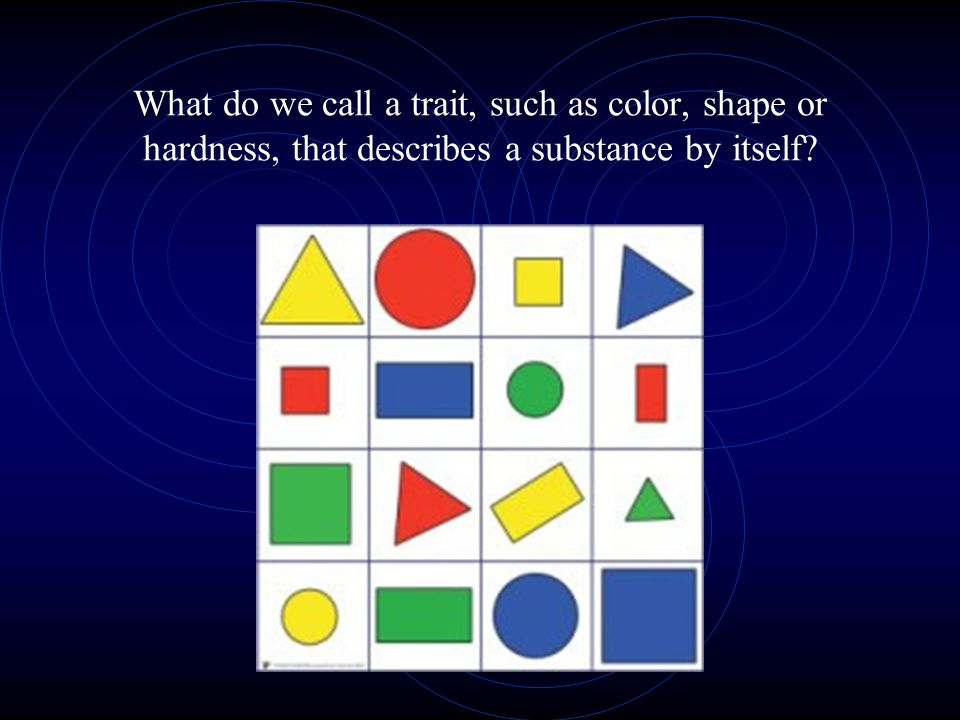 What do we call a trait, such as color, shape or hardness, that describes a substance by itself