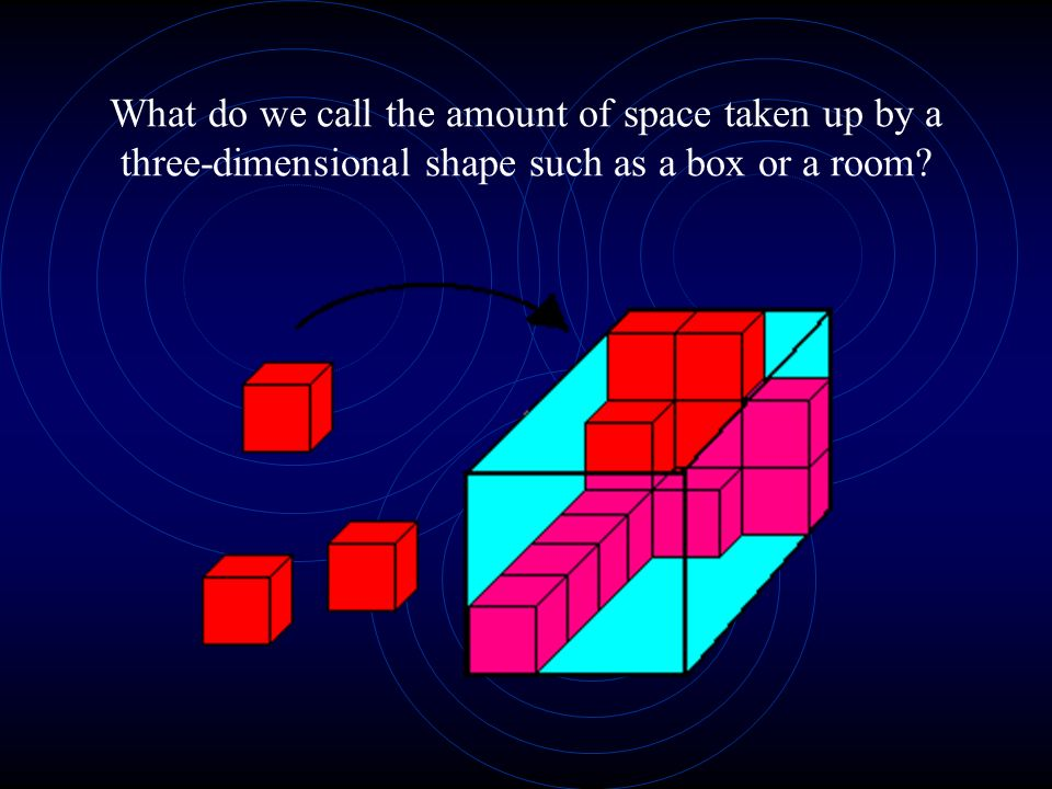What do we call the amount of space taken up by a three-dimensional shape such as a box or a room