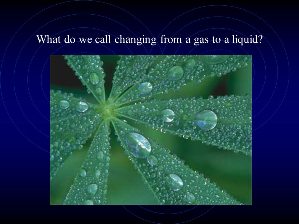 What do we call changing from a gas to a liquid