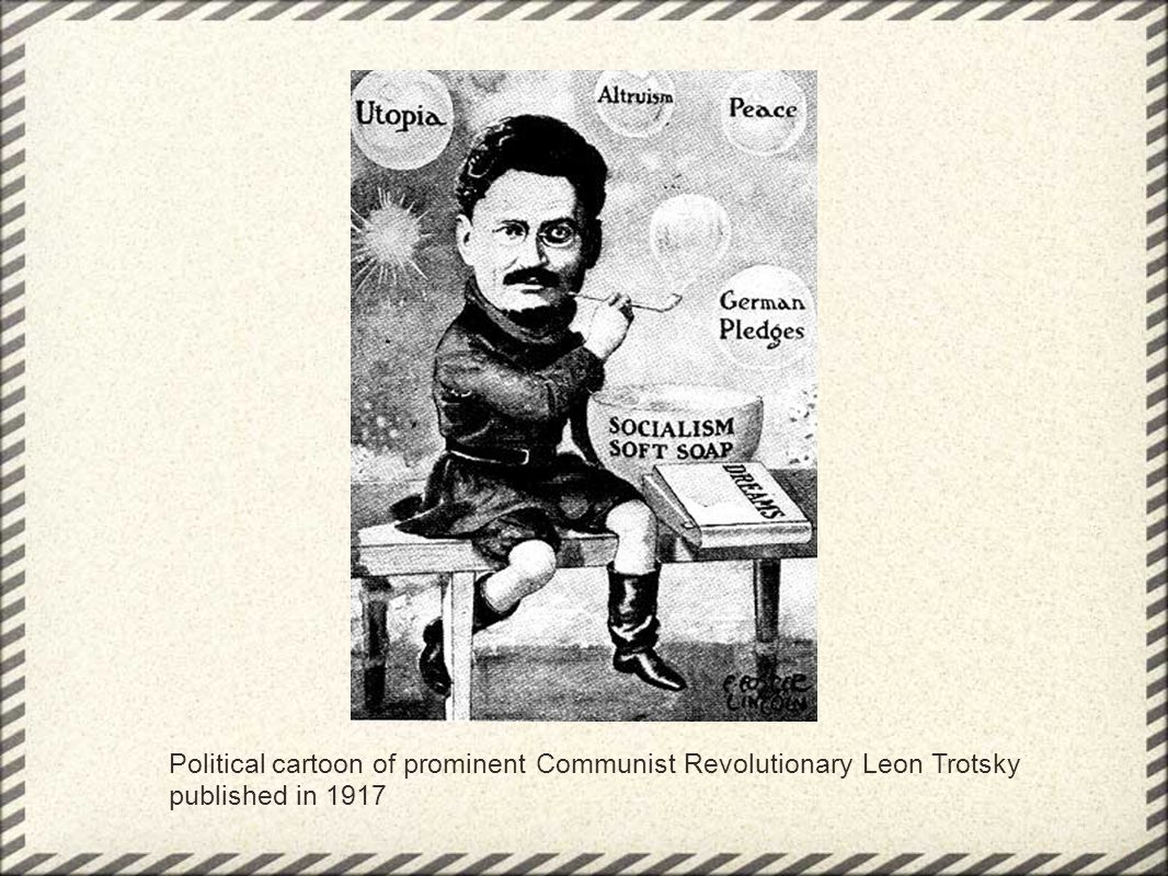 Political cartoon of prominent Communist Revolutionary Leon Trotsky published in 1917